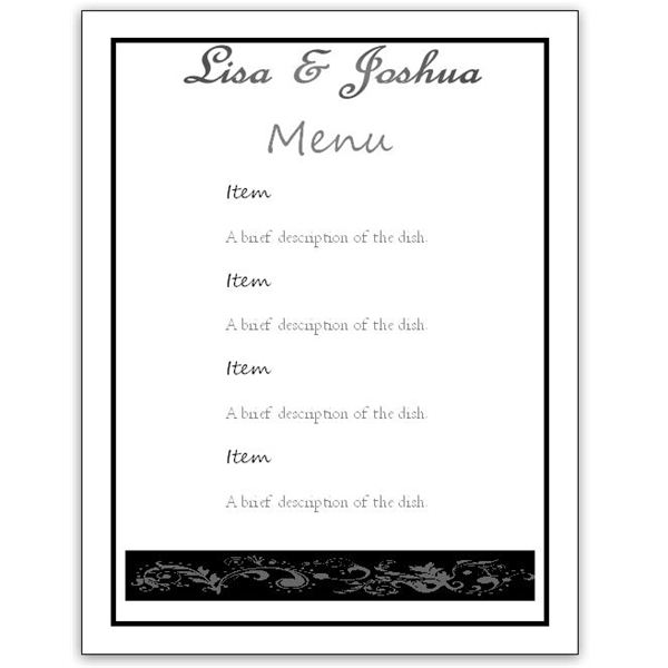printable menus template