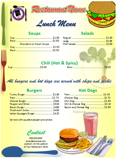 Menu template word for Drink menu template microsoft word