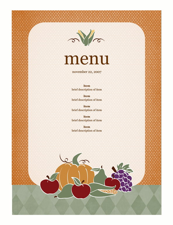 Menu template word for Menu brochure template word