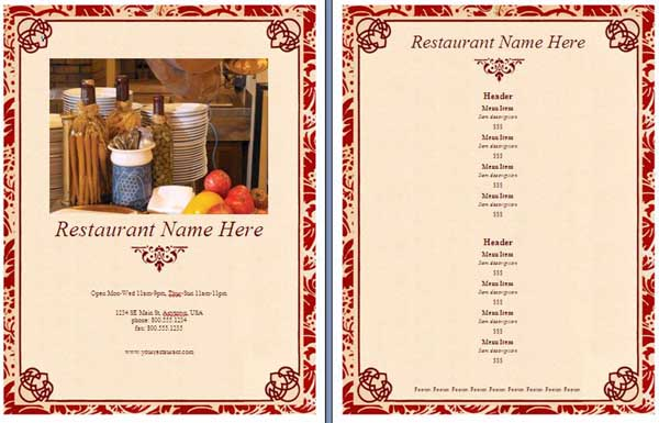templates for restaurant menus - restaurant menu template