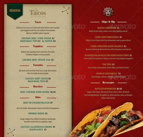 Restaurant menu template for Menue templates