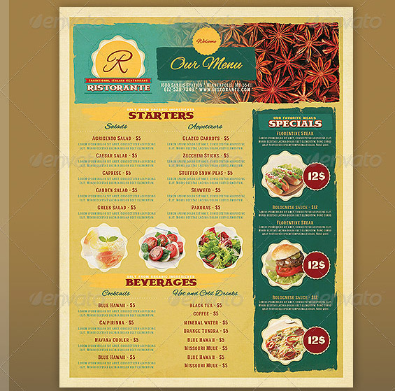 dinner menu templates