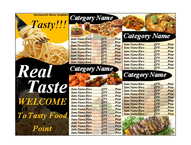 Exceptional Free Downloadable Restaurant Menu Templates For Free Restaurant Menu Template Word