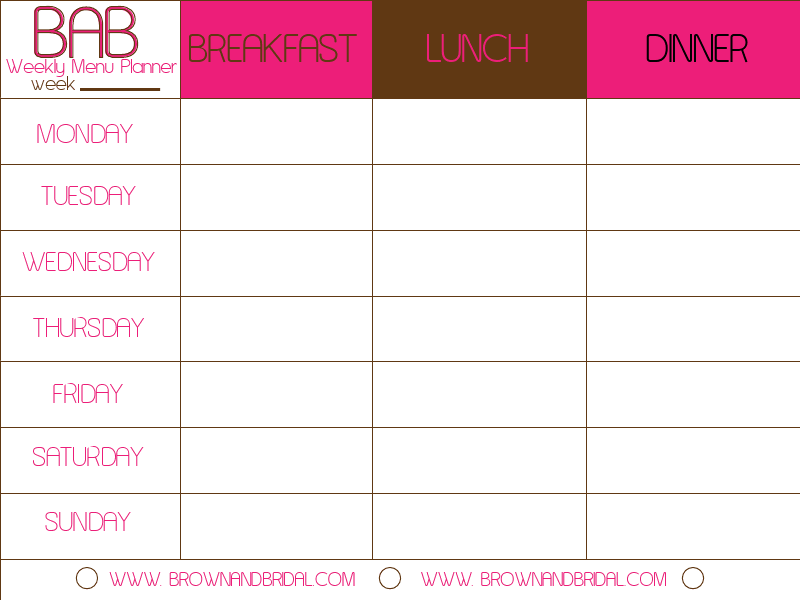 Weekly menu template for Free weekly meal planner template