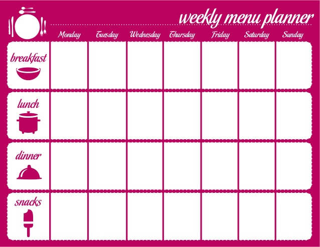 Menu For The Week Template. Free Weekly Meal Plan : Quick Weight ...