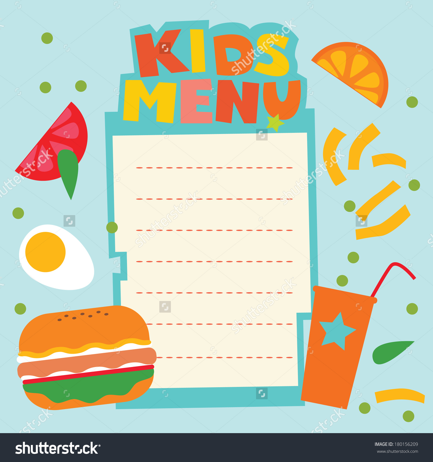 Kids menu design for Menue templates