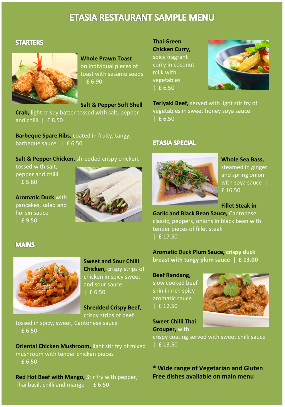 Free restaurant menu sample