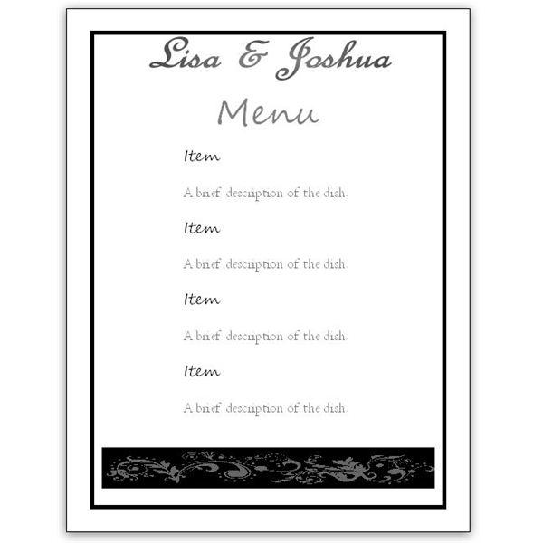 menu template word