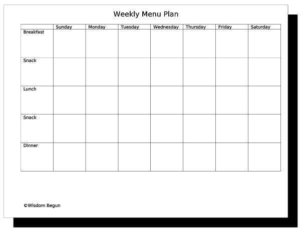 Weekly Menu Template Weekly Dinner Menu Planner Template